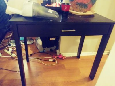 Console table black solid wood