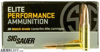 For Sale: Sig Sauer E308M120 Match Grade 308 Winchester/7.62 NATO 168 GR Open Tip Match 20 Bx/ 25 Cs. no taxes,no credit card fees, Flat rate shipping is $14.95 for unlimited ammunition