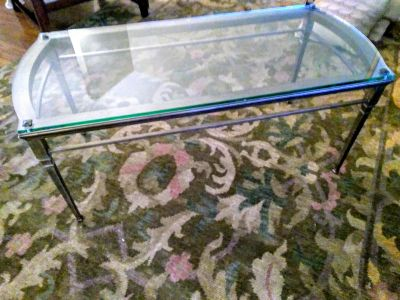 Great glass and metal coffee table!