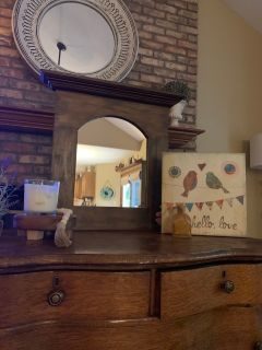 Hanging wood mirror with ledge