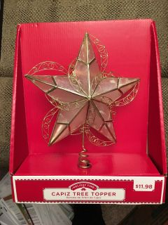 """AB MEET - Christmas Tree Topper. Decorative & made of """"Glass Oyster"""", type of shell found in the Philippine Waters - Does Not Light Up - NIB"""