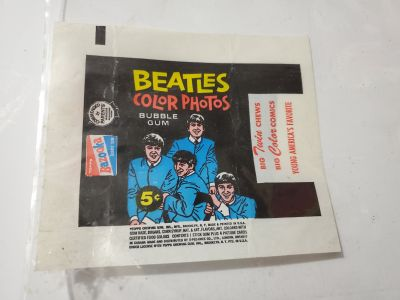 VINTAGE BEATLES COLOR PHOTOS BUBBLE GUM WRAPPER TOPPS