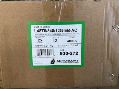 T8 LED Lamps 4' Ballast 52 cases available, Schools, Office