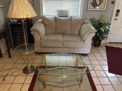 Floor lamp and glass coffee table