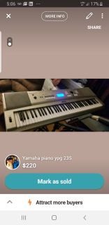 Yamaha ypg 235 piano/synthesizer/keyboard