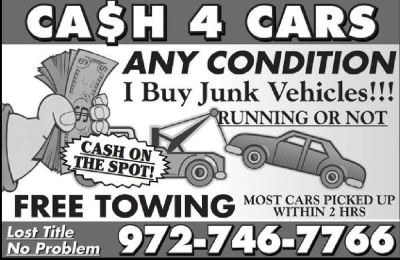WE BUY JUNK CARS, RUNNING OR NOT, TITLE OR LOST TITLE .
