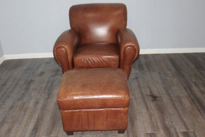 Authentic leather chair and ottoman