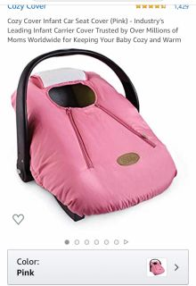 Cozy Cover infant car seat cover in pink