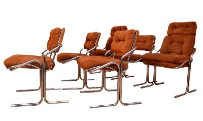Set of 6 Baughman Style 1970's Chrome Dining Chair