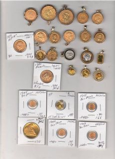 Real gold coins from several countries for sale
