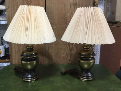 Pair of Matching 16 Urn Style Brass Table Lamps
