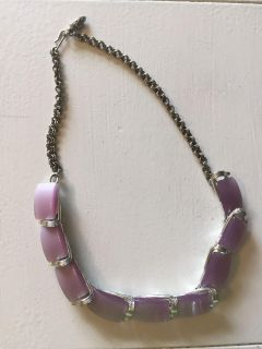 Vintage Purple Thermocet Costume Jewelry Necklace. CP.
