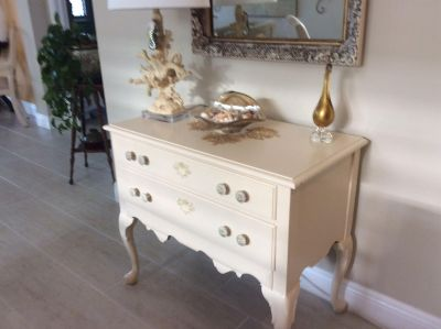 Painted Chest with 2 Drawers Solid Mahogany