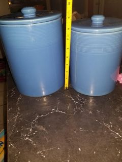 2pc ceramic heavy blue canister set - free from cracks except in 1 lid as shown. $5 for both