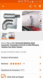 Rheem vent kit for tank less hot water heater