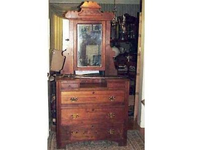 DRESSER ANTIQUE VICTORIAN, WALNUT W/MIRROR, (3) DRAWERS, ...