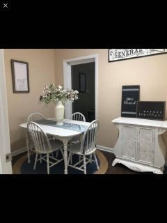 Farmhouse style table set with 4 matching chairs