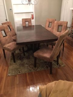 Beautiful table, chairs, buffet, and bar stools