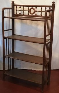 rare solid oak antique stick & ball book shelf
