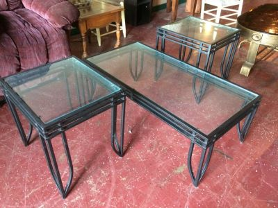 3 Pc Wrought Iron / Glass Coffee and End Table Set