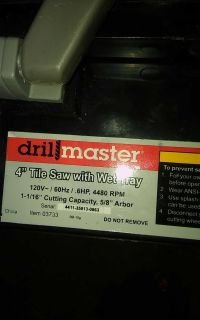 Drill master wet tile saw