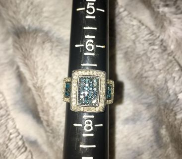 Zales Blue and white diamond ring size 7