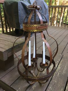Wrought Iron 3 candle Chandelier