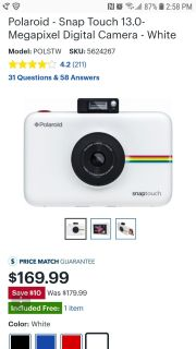 POMS-White Polaroid Snaptouch camera in great condition pu off Countyline Rd
