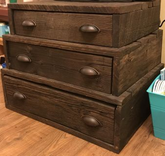 Anthropologie Inspired 3 Tier Side Table with Drawers (Made from reclaimed barnwood)