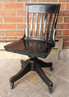 Antique Wooden Swivel Office Chair Johnson Chair Co. Chicago, IL