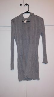 Small Grey Hooded Open Front Sweater