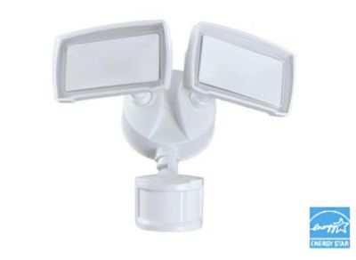 Good Earth Lighting White Integrated LED Motion-Activated Flood Light with Timer
