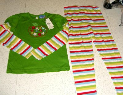 NEW Size 6XY from Cracker Barrel Apple Stripe T & Leggings 2pc Set Embroidered Apple & Floral Design w/Button Accents Outdoor or Sleep-Over