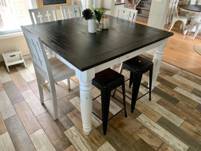 Large heavy counter height table table, chairs and metal stools