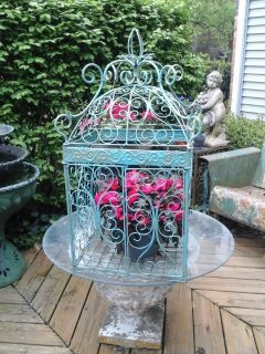 Vintage large scrolly iron bird cage