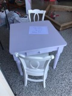 pottery barn table and 2 chairs