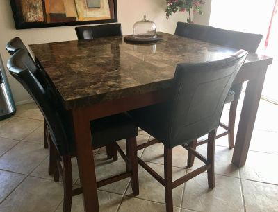 Granite top dining table with console