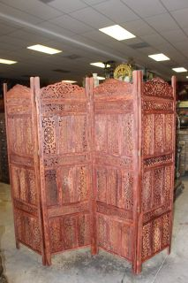 Indian Antique Handcrafted 4 Panel Room Divider