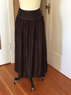 Brown Silk Talbots Skirt With Beading