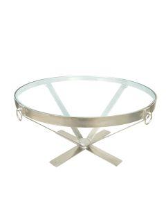 Round Iron Metal & Glass Coffee Table
