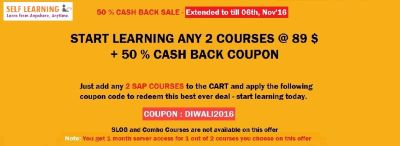 EXTENDED 50 % CASH BACK SALE - START LEARNING ANY 2 COURSES @ 89 $ ONLY + 50 % CASH BACK COUPON FOR YOUR NEXT PURCHASE - VALID TILL 06TH,...
