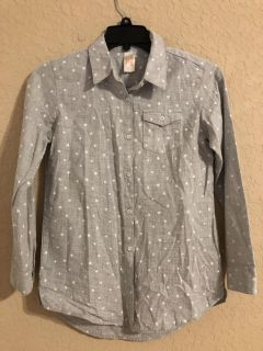 Cat & Jack Star Button Front Long Sleeve Shirt. Size 10-12 Nice Condition