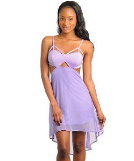 $32.99 Hi Lo Cutout Asymmetrical Lavender Dress