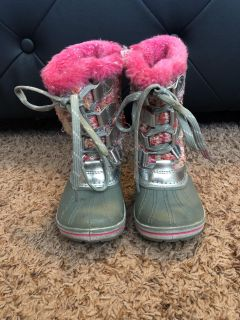 Pink and Silver Snow Boots