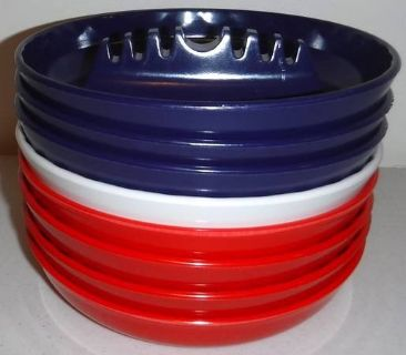 New! Set of 8 Retro Melamine Red, White Blue ~7in Ashtray