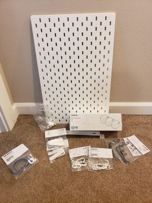 """Ikea pegboard (14.25x22"""") with accessories. NEW"""