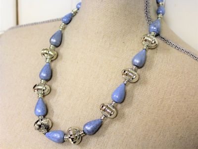 "NWOT Blue 24"" Silver Tone Bead Gem Stone Strand Necklace Pendant Statement"