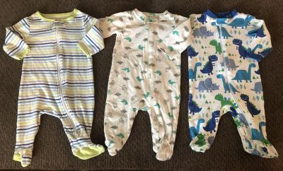3 Footed Onesies size 0-3 Months. Smoke/Pet free home. Price for ALL.