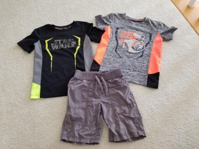 4T Star Wars dry-fit shirts with shorts