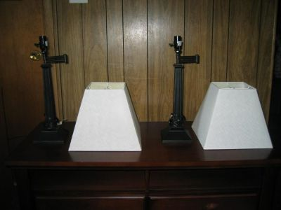 Pair of table lamps with lamp shades